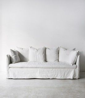 Indie Home Collective White Linen Sofa Slipcovered Sofa White
