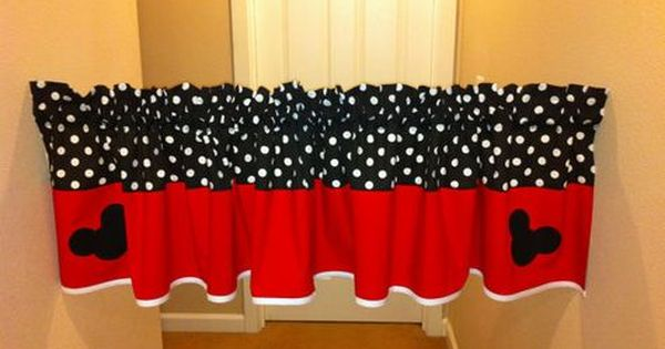 Mickey Mouse Valance For Kids Room Unisex Black And Red Polka Dot Valances Curtains Disney Bathroom