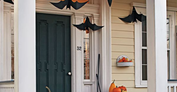 Halloween Porch Decorations | one pretty pin} Martha Stewart's batty front porch