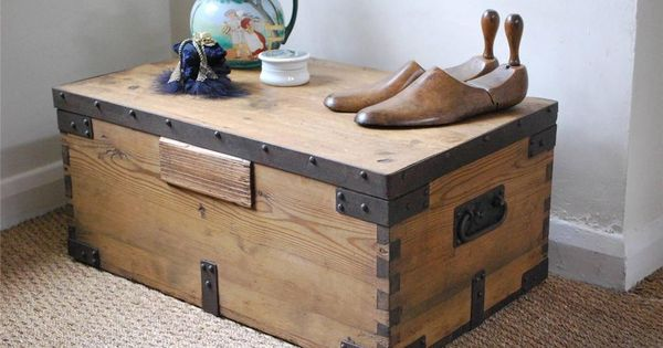 Vintage Rustic Pine Box Chest Trunk Coffee Table With