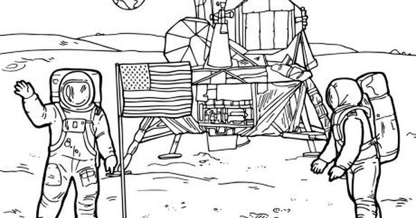 Moon Landing Colouring Page Space Coloring Pages Moon Landing