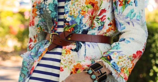 Floral jacket, striped dress
