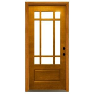 Steves Sons 36 In X 80 In Craftsman 9 Lite Stained Mahogany Wood Prehung Front Door M3109 6 Aw Mj 4lh The Home Depot Craftsman Exterior Door Exterior Doors With Glass Front Doors With