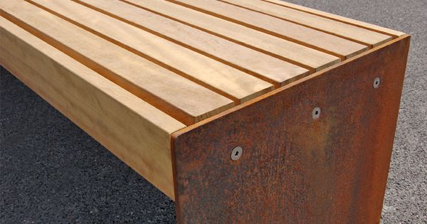 elements bench with medium timber slats and corten. Black Bedroom Furniture Sets. Home Design Ideas