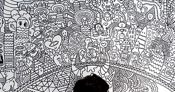 Serge Seidlitz Drawing - massive doodling wall - love it! by susangir