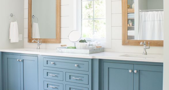 Lake House Master Bathroom Double Vanity Sherwin Williams Cabinet Paint And Master Bathrooms