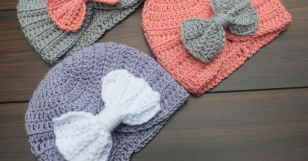 Crocheted Infant Baby Turban with added bow for just a touch of
