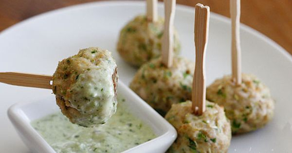 Southwest Turkey Meatballs with Creamy Cilantro Dipping Sauce - Meatballs make the