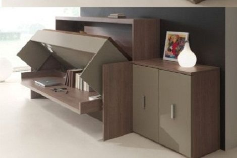 Opklapbed bureau flat met opklapbed ruimtebesparend functioneel kamer met extra bed - Foto deco volwassen kamer ...