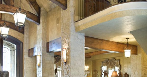 Open foyer with stone and beams muebles pinterest for Muebles castillo murcia