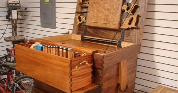 Walnut Tool Chest - The till that hooks over the front lip ...