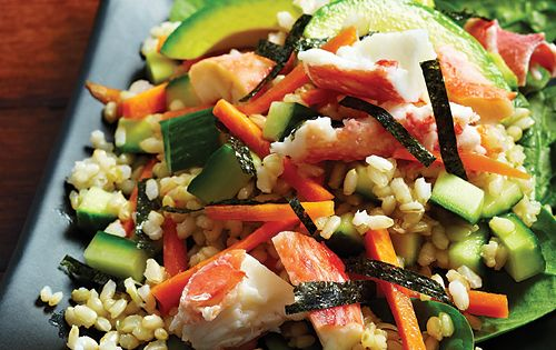 Deconstructed Sushi Salad Ingredients: 1 cup cooked short-grain brown rice 1 tablespoon