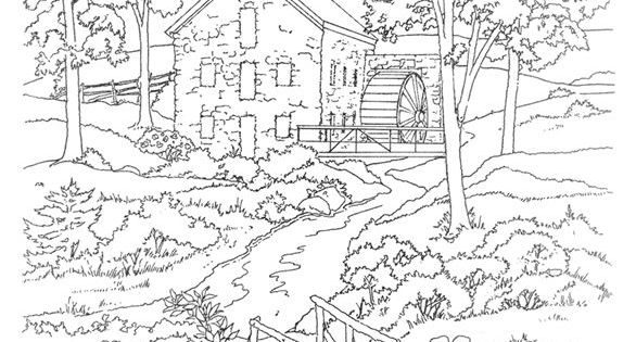 Mill Coloring Page Dover Publications Free Coloring