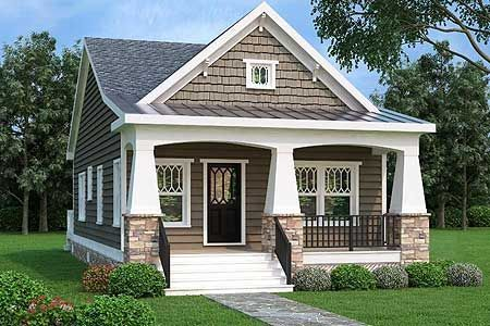 Architectural Designs 2 Bed Bungalow Style House Plan Gives You One Story Living A Rocking Ch Bungalow Style House Plans Craftsman House Plans Craftsman House