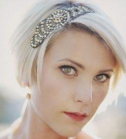 1920s Hairstyles Gatsby Inspired Short Wedding Hair Short Bridal Hair Short Hair Styles