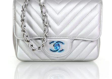 Chanel Silver Caviar Chevron Mini Flap Bag Nib Mulheres Bonitas Mulheres