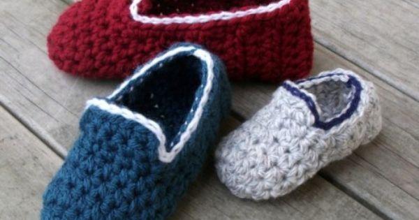 Free Crochet Pattern For Vans Slippers : Kids-Loafers Youth & Toddler Slipper Crochet Patterns ...