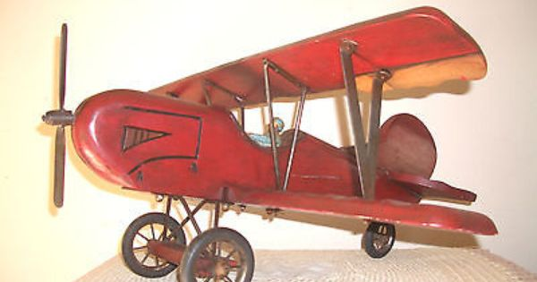 Vintage Large Handmade Wooden Airplane Bi Plane With Pilot