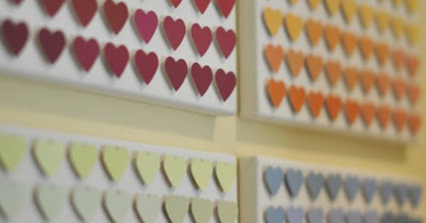 Paint chip heart art - Could do another punch - Dollar store