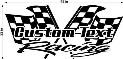 Trailer Decal Graphics Custom Your Name Racing with Checkered Flags Different Size /& Color Options
