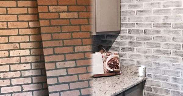 and after lowes brick panel painted white brick backsplash faux brick
