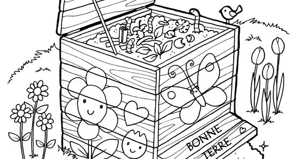 coloriages jardinage boite a compost jardinage pour. Black Bedroom Furniture Sets. Home Design Ideas