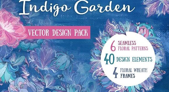 Indigo Garden Vector Florals – Fresh and sweet set of elements, frames and patterns for great romantic designs