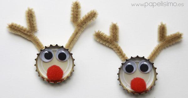 Manualidades para navidad con material reciclado reno de navidad con chapas de refrescos esta - Manualidades con chapas de refrescos ...