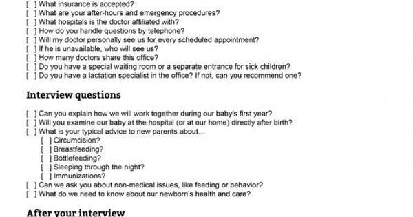 Choosing your child's doctor: Printable pediatrician interview ...