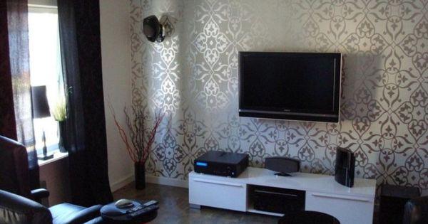 Decoration White Silver Combine Motive Wall Tv Room