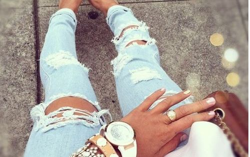 jeans + accessories.