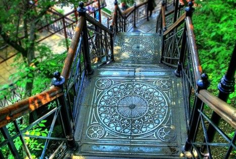 Ornate landing for this set of outdoor stairs. Montmartre, Paris, France