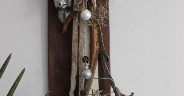 Wanddeko aus neuem holz dekoriert mit b nder nat rlichen for Hirschkopf aus holz