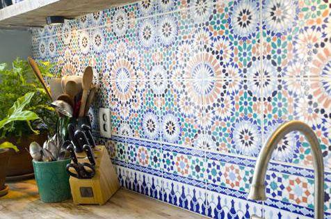Moroccan tile back splash & butcher block counter