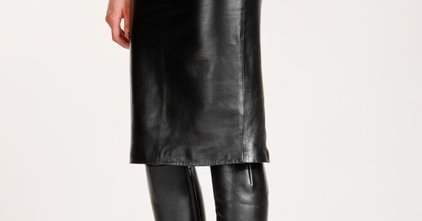 black leather skirt and boots | Work outfits | Pinterest ...