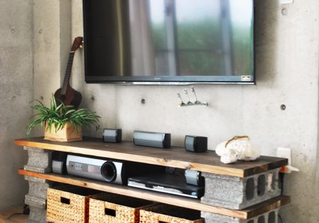 Diy Cinder Block Tv Cabinet Put Wheels Under Basket As