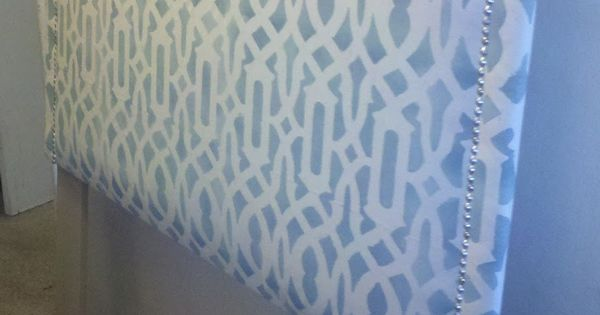 Treasured Rubbish: DIY Upholstered Headboard, with Stenciled Fabric-- forget the stenciled fabric. cheap but nice feeling fabric with a decent print is fine for me!