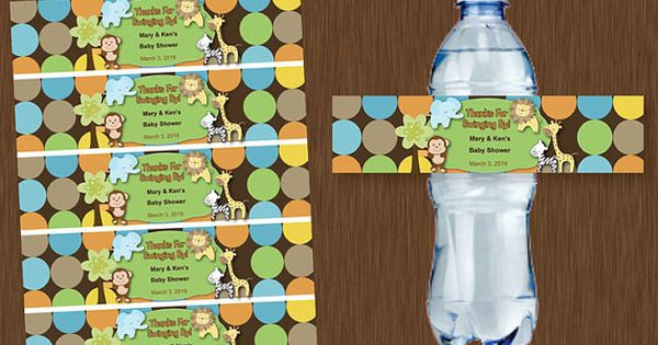 Instant DOWNLOAD Water Bottle Labels Printable Personalizable Jungle Baby Shower Birthday Party
