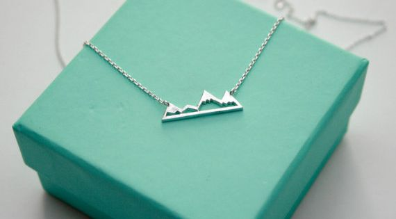 silver mountain top necklace dainty mountain by. Black Bedroom Furniture Sets. Home Design Ideas