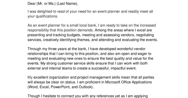 Event Planner Cover Letter Find a Job! Pinterest - event planner cover letter