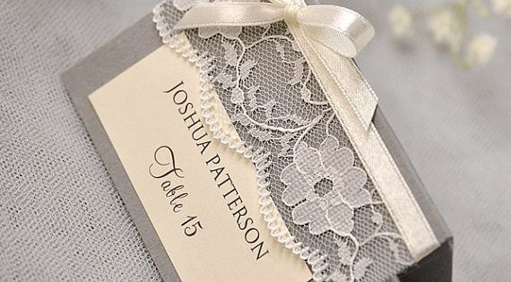 Grey Lace Place Card, Vintage Tented Place Cards, Lace Escort Card, Name