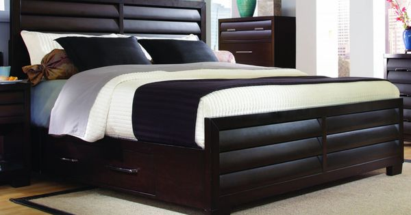 Black Wood Bed Storage Ideas With Rectangle Shaped Useful Side Storage