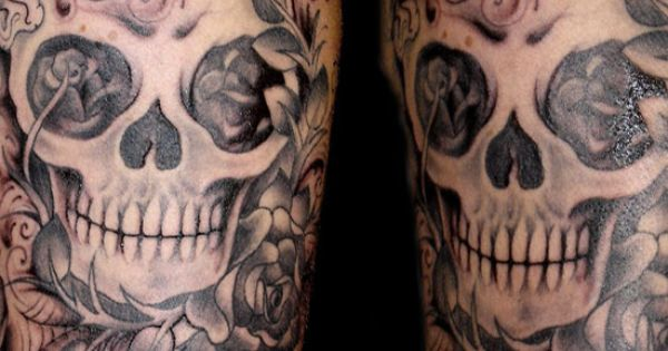 skull flower tattoos | Skull,flower And Butterfly Tattoos Design On Arm.