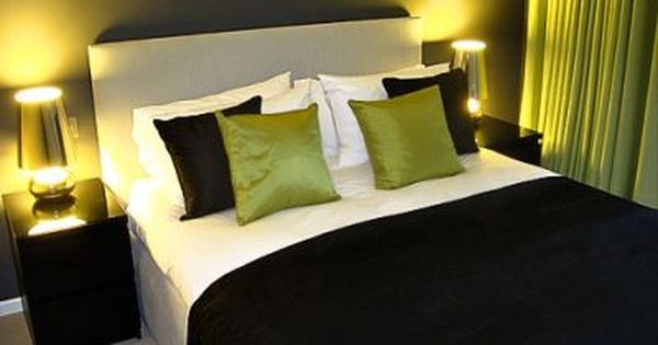 , Shades Of Grey Are Accented With Lime Green. A Bold Charcoal