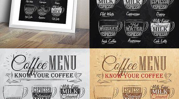 Coffee Menu Etsy Coffee Menu Coffee Drinks Coffee Cups