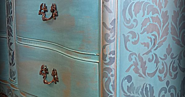 Turquoise Dresser again the multi color wood I really like this look