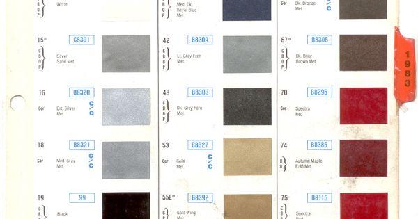 gm color chips 1983 gm models select model paint list to General Motors Paint Colors GM Paint Codes by Model