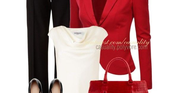 Business outfit | Basic black & white popped with red. Dramatic and