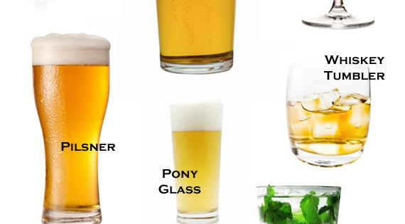 The different types of drinking glasses, and explanations of what they're used