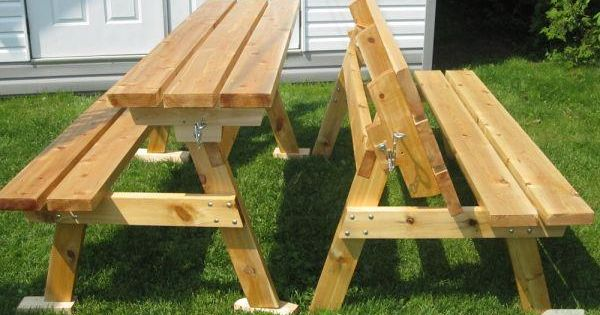 2x4 bench into picnic table bench that converts to for Flip top picnic table plans